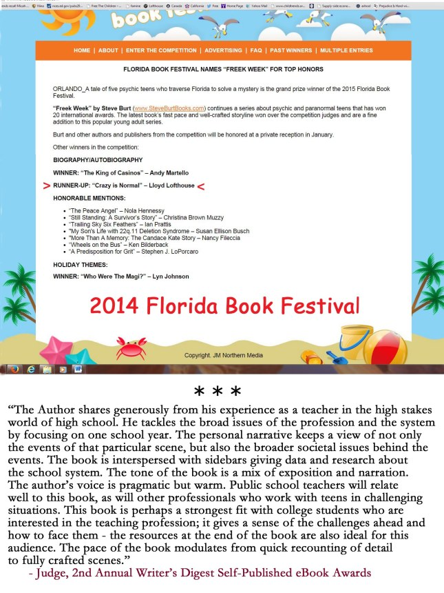 2014 Florida Book Festial and Comment by Writers Digest Judge