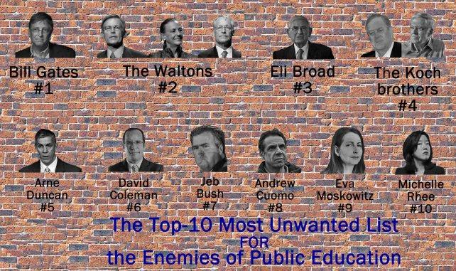 Top Ten List on Brick Wall